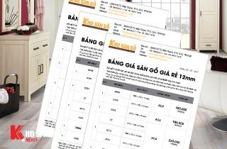 Bảng báo giá sàn gỗ công nghiệp 12mm năm 2017