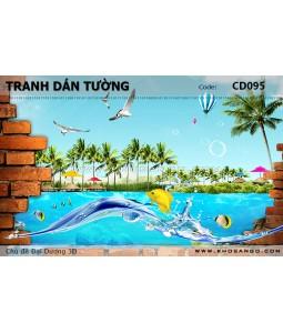 Tranh dán tường Đại Dương 3D CD095