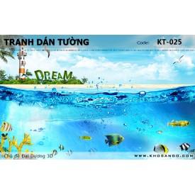Tranh dán tường Đại Dương 3D KT-025