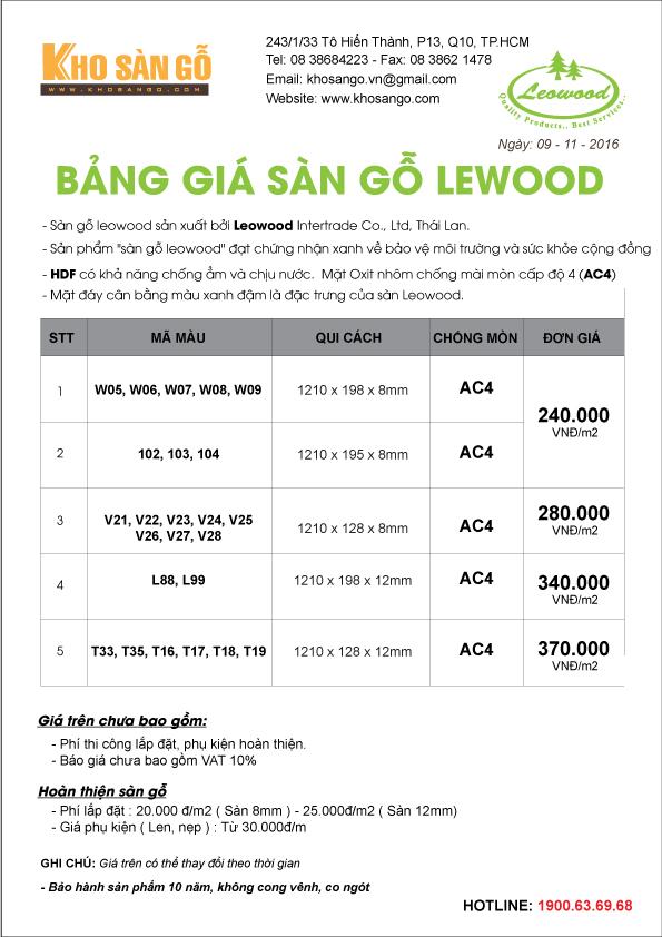 báo giá sàn gỗ leowood Thái Lan