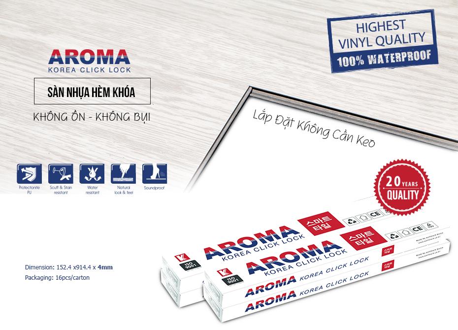 Tham khảo Sàn Nhựa Hèm Khoá Aroma có giá từ 280.000 đ/m2
