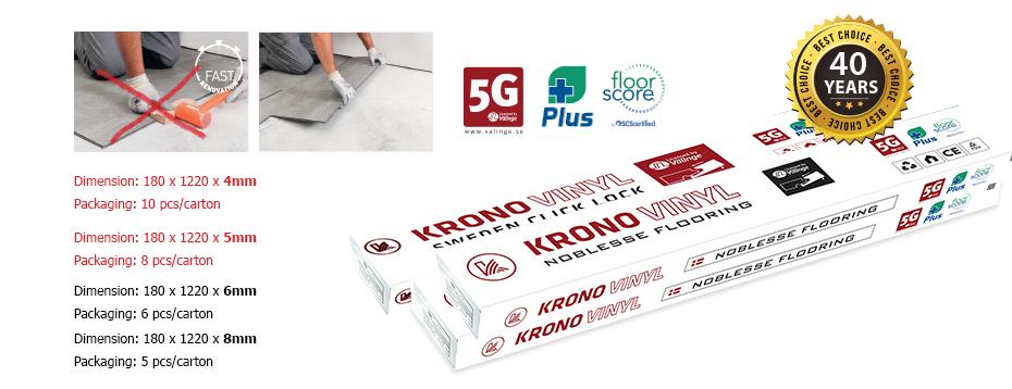 hộp vật liệu sàn nhựa thụy điển Krono Vinyl