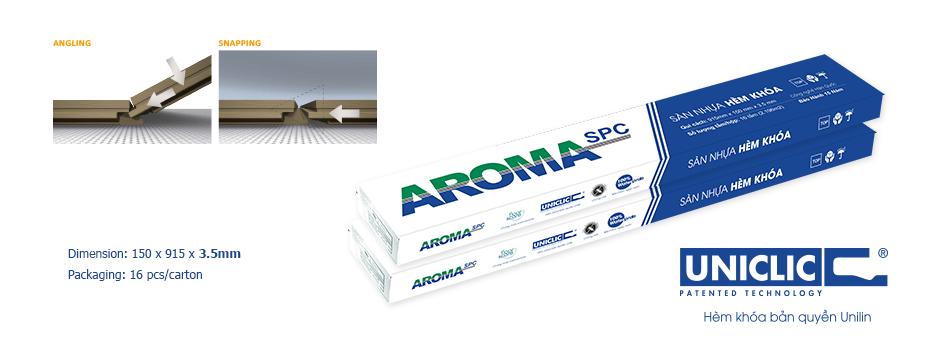 bao bì sàn nhựa hèm khóa Aroma spc