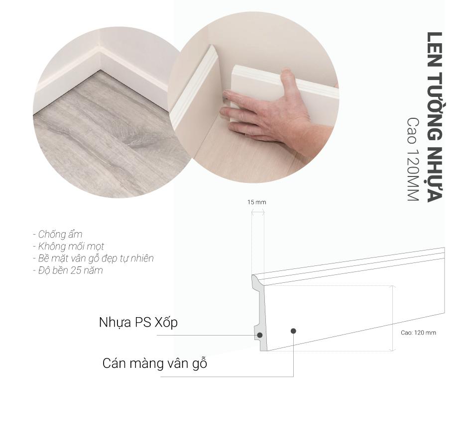 len tường nhựa cao 120mm