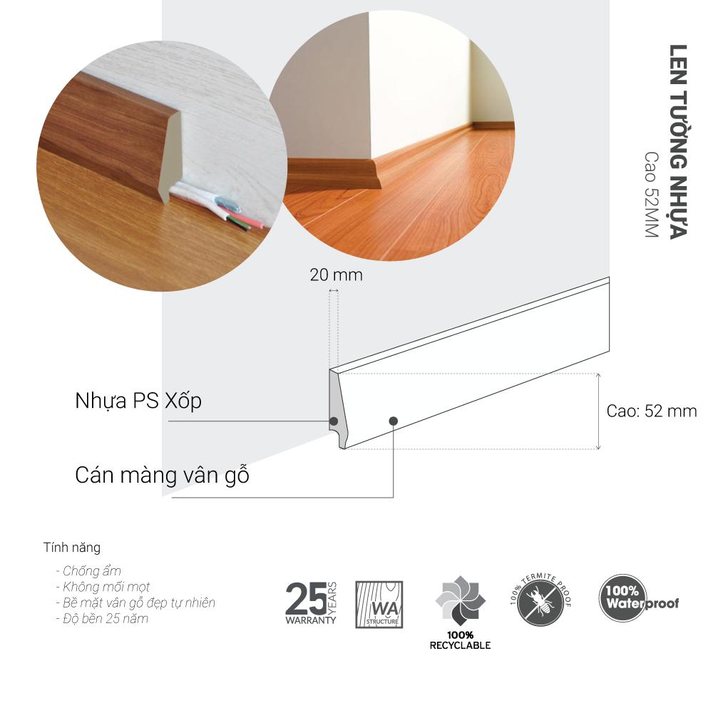 len tường nhựa cao 52mm