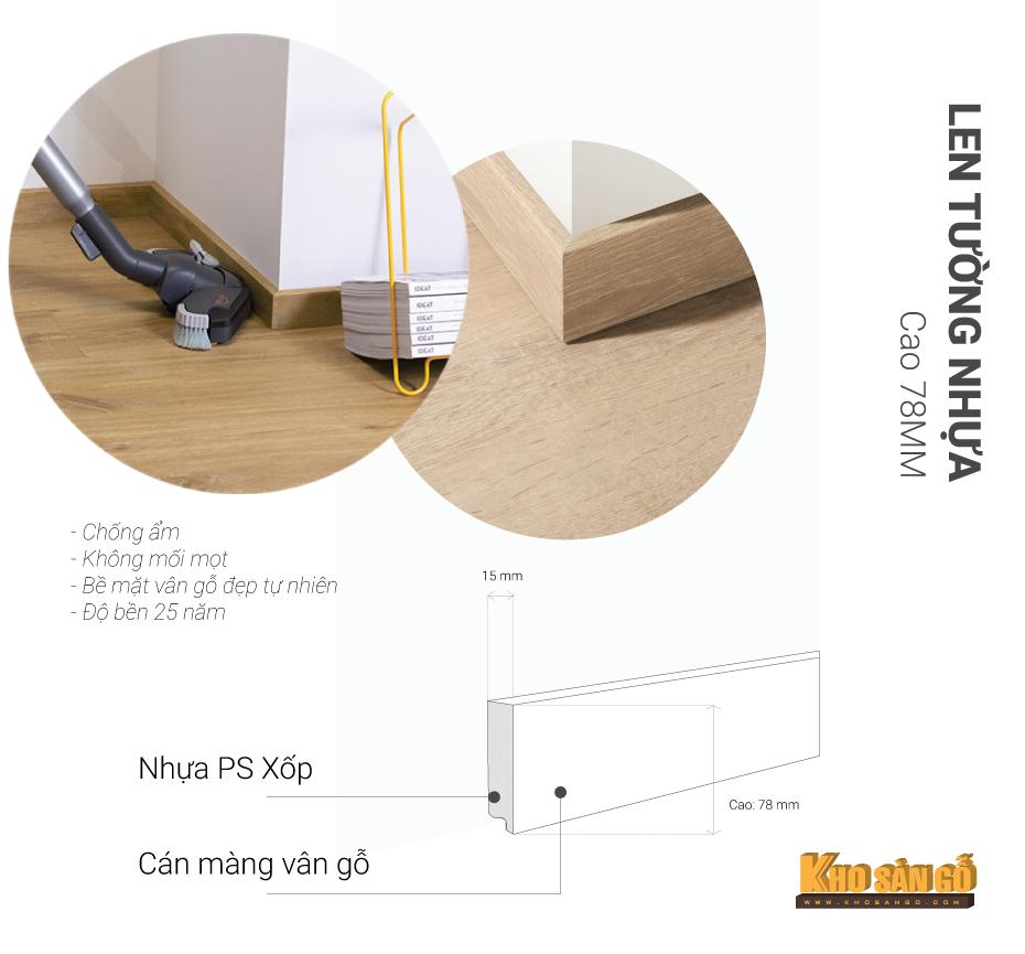 len tường nhựa cao 78mm