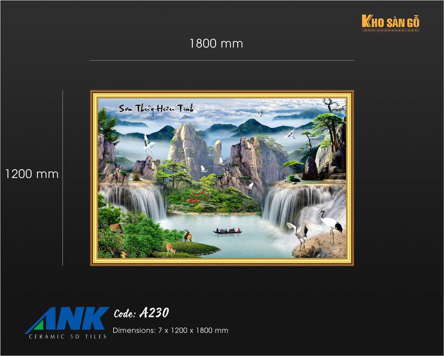 Kích thước gạch tranh 5D ANK A230