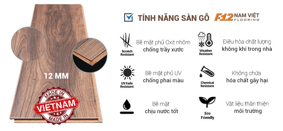 tính năng sàn gỗ F12 Nam Việt