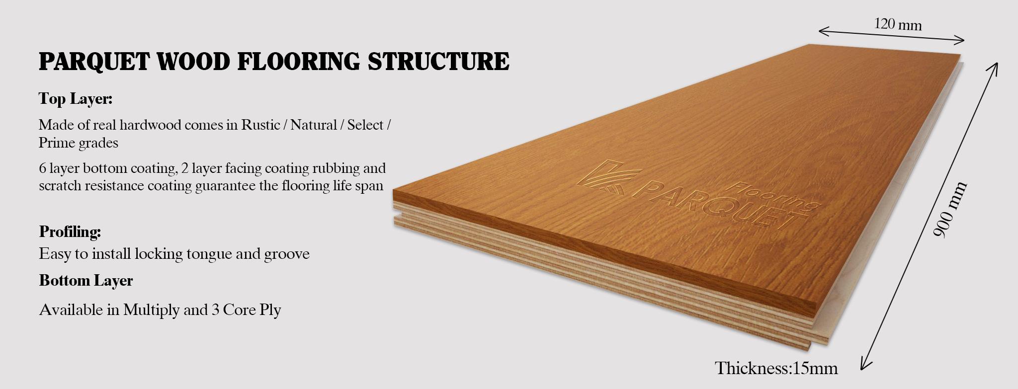 parquet wood flooring structure