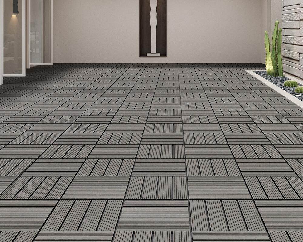 Gỗ nhựa WPC dạng vỉ thi công đơn giản, bảo dưỡng dể dàng là điểm nhấn cho không gian sàn.