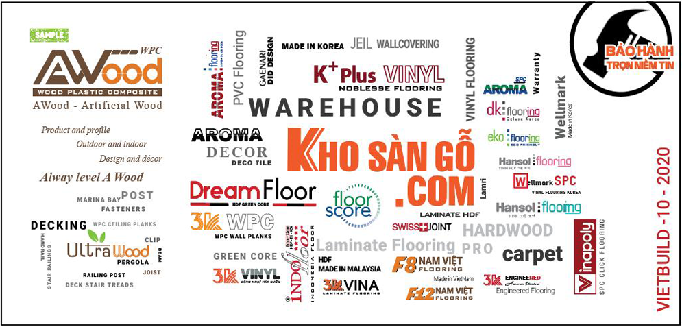 Các thương hiệu chất lượng được trưng bày tại gian hàng Kho sàn gỗ.