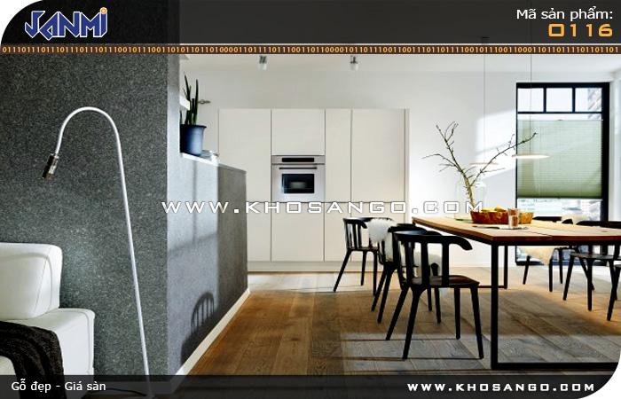 Sàn gỗ JANMI O116 -  Lót sàn gỗ nhà bếp