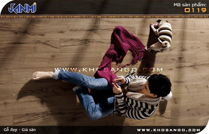Sàn gỗ JANMI O119 - Lót sàn gỗ phòng khách