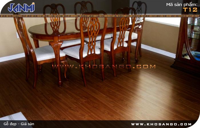 Sàn gỗ JANMI T12 - Lót sàn gỗ phòng khách
