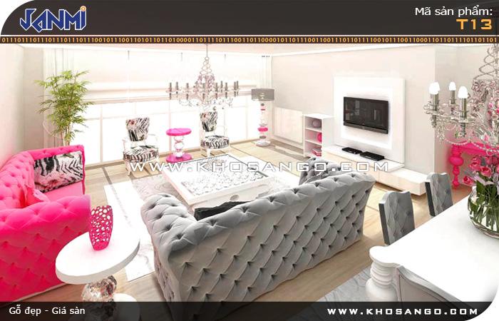 Sàn gỗ JANMI T13 - Lót sàn gỗ phòng khách