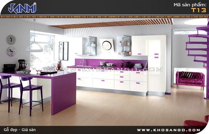 Sàn gỗ JANMI T13 - Lót sàn gỗ nhà bếp