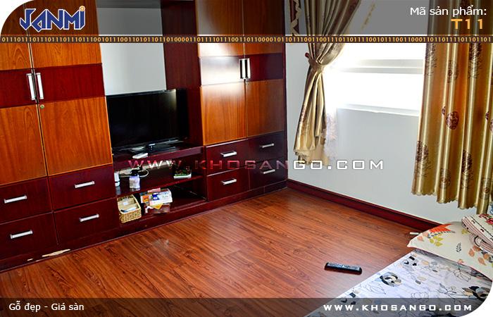 Sàn gỗ JANMI T11- Lót sàn gỗ phòng ngủ
