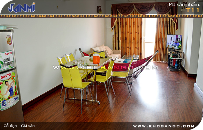 Sàn gỗ JANMI T11- Lót sàn gỗ căn hộ chung cư