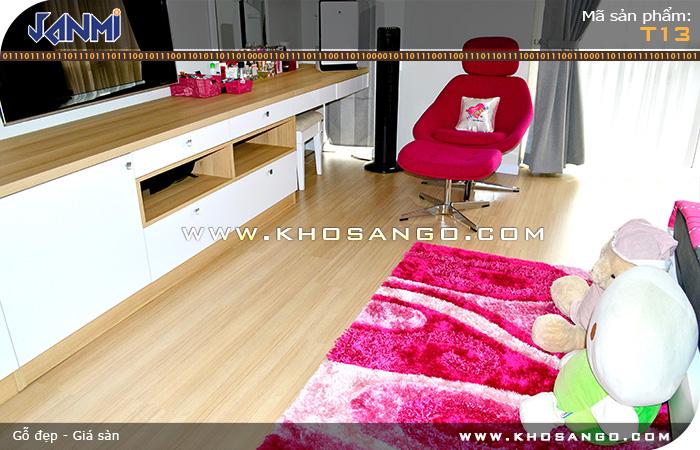 Sàn gỗ JANMI T13 - Lót sàn gỗ phòng ngủ em bé