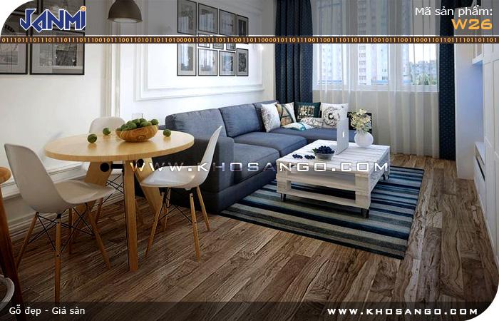 Sàn gỗ JANMI W26- Lót sàn gỗ phòng khách