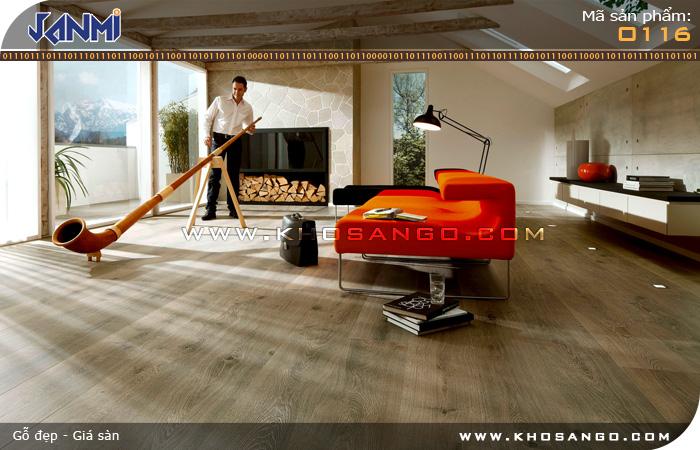 Sàn gỗ JANMI O116 -  Lót sàn gỗ phòng khách