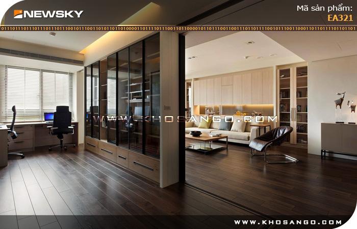Sàn gỗ công nghiệp Newsky EA321 lót sàn phòng khách