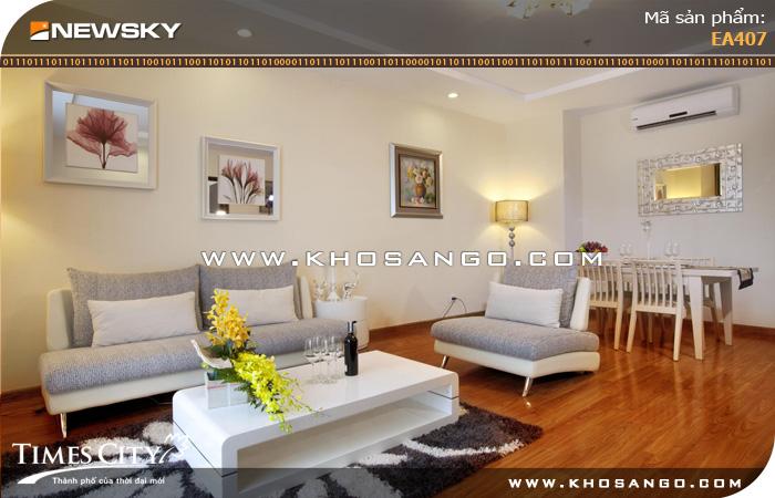 Sàn gỗ công nghiệp Newsky EA407 lót sàn phòng khách
