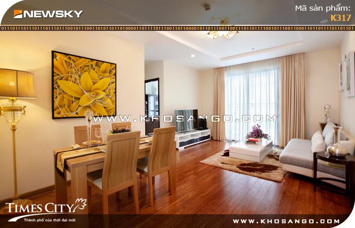 Sàn gỗ công nghiệp Newsky K317 lót sàn phòng khách