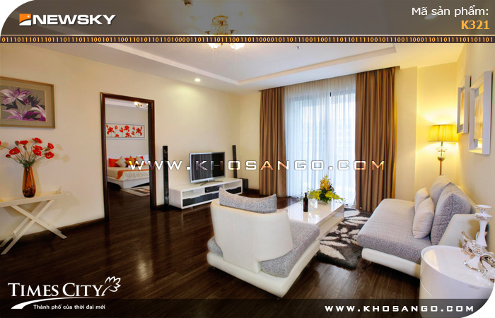 Sàn gỗ công nghiệp Newsky K321 lót sàn phòng khách