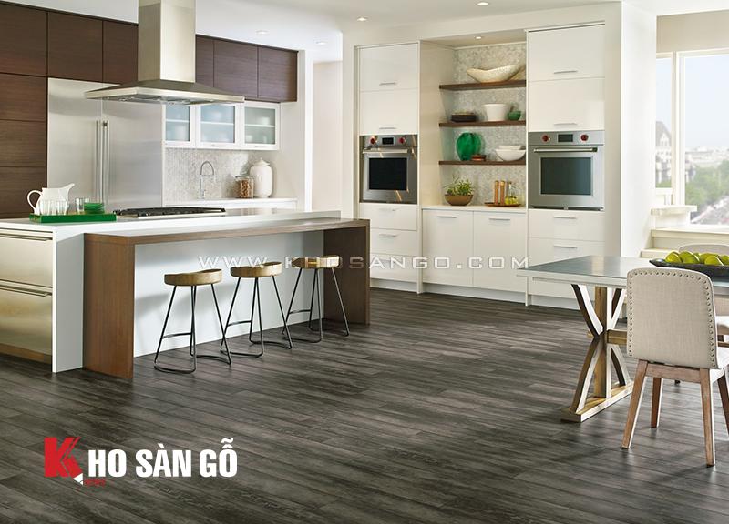 Sàn nhựa giả gỗ lót sàn phòng bếp