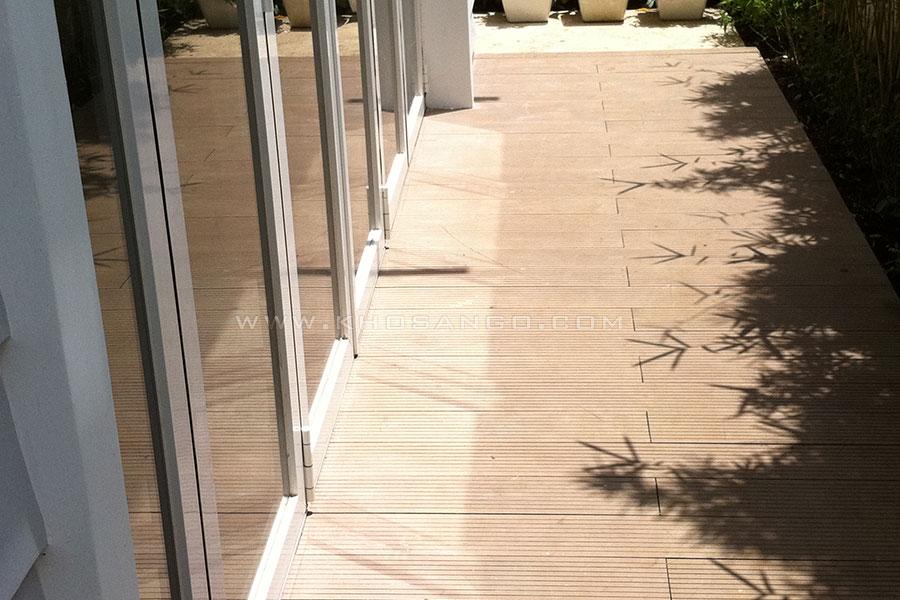 gỗ nhựa lót sàn lối đi sân vườn