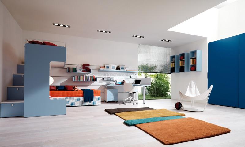 Sàn gỗ kết hợp sắc thái màu xanh cho không gian tươi mát trong những ngày hè