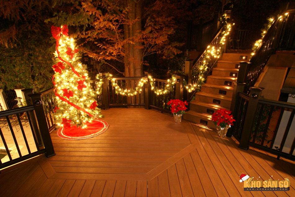 sàn gỗ lót sàn nhà mùa giáng sinh